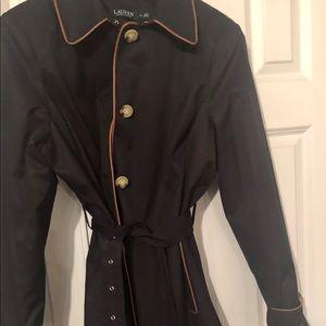 Ralph Lauren navy trench coat with leather trim